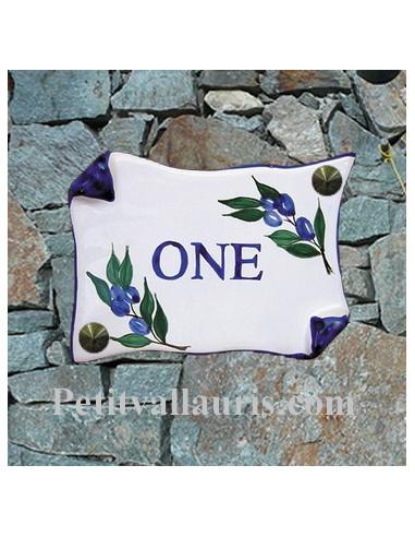 Plaque de Maison parchemin décor brin d'olives bleues inscription personnalisée bleue