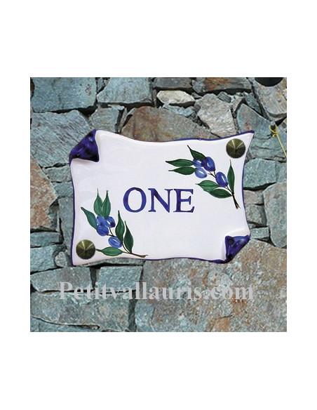 Plaque de Maison en faience modèle motif brin d'olives bleues inscription personnalisée bleue