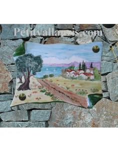 Plaque de Maison parchemin décor paysage provence