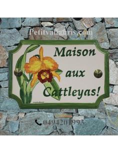 Plaque de Maison rectangle décor et texte personnalisés Orchidée-Cattleyas inscription et bord verts