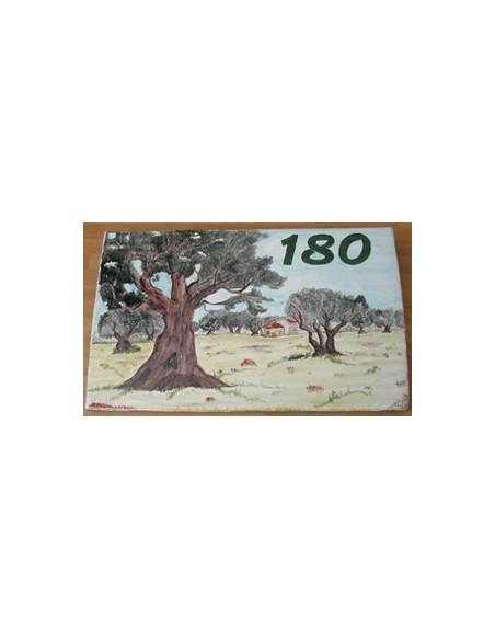 Plaque de Maison rectangle en céramique émaillée décor artisanal motif paysage champs oliviers + inscription personnalisée