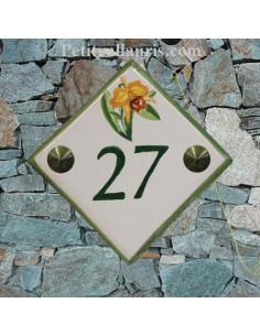 Numéro de rue ou de maison décor Brin d'Orchidée-cattleyas pose diagonale