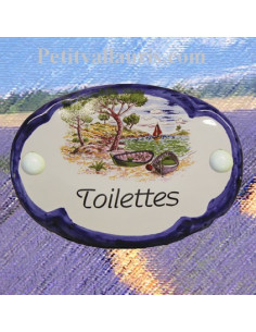 Plaque de porte ovale inscription toilettes motif calanque bord bleu