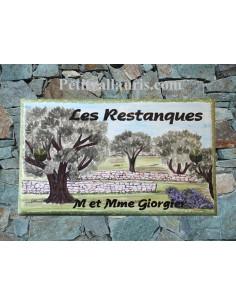 Plaque de Villa rectangle décor personnalisé paysage oliviers et restanques inscription personnalisée verte