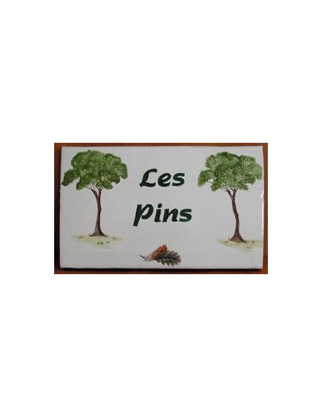Plaque de Villa rectangle décor personnalisé les 2 pins inscription personnalisée verte