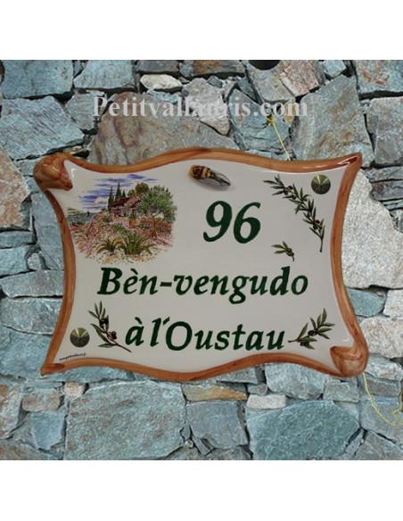 Plaque de maison en céramique modèle parchemin décor cabanon + olives et cigale en relief et personnalisation