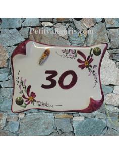 Plaque de Maison céramique parchemin décor fleurs de couleur bordeaux-prune + cigale relief inscription personnalisée