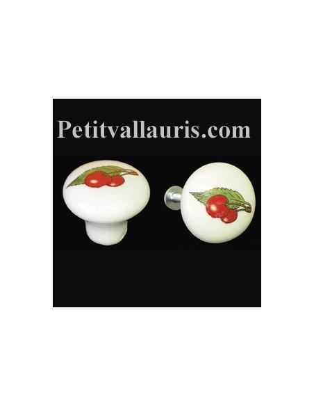 Bouton de tiroir en porcelaine blanche motif cerises (diamètre 30 mm)