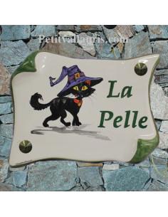 Plaque de Maison parchemin décor personnalisé sorcière transformée en chat