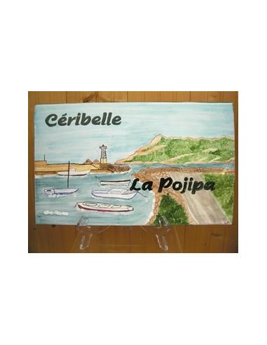 Plaque de Villa rectangle décor personnalisé paysage la seyne_saint-elme inscription personnalisée verte