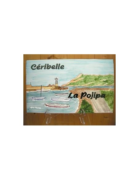 Plaque de Maison rectangle en céramique émaillée décor artisanal motif paysage la seyne_saint-elme + inscription personnalisée