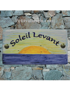 Plaque de Maison rectangle décor personnalisé lever de soleil inscription bleue