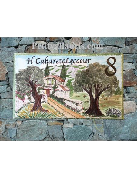 Grande Plaque de Maison rectangulaire en céramique décor artisanal bastide en pierre et 2 oliviers + inscription personnalisée