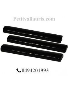 Listel large faience émaillée couleur unie noire