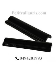 Listel corniche en faience émaillée couleur noir brillant