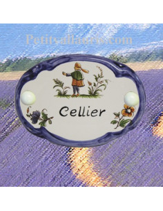 Plaque ovale Cellier décor tradition vieux moustierspolychrome bord bleu