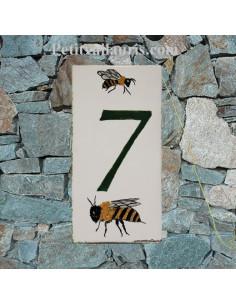 Plaque chiffre de maison faience émaillée décor les abeilles