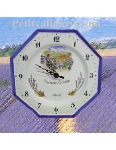 Horloge pour Anniversaire décor Cueillette de lavande