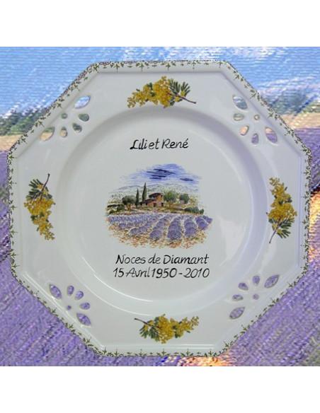 Assiette de Mariage octogonale décor champs de lavandes et brins de mimosas