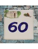 Numéro de Maison pose horizontale décor four ancien chiffre bleu