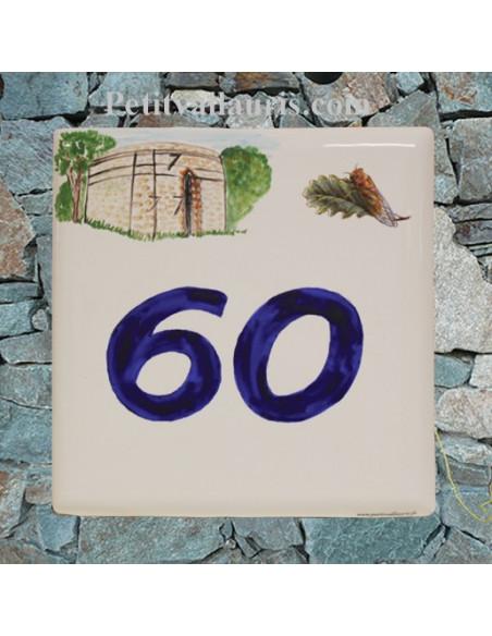 Plaque numéro de maison en faience émaillée reproduction artisanale four ancien + chiffre personnalisé bleu