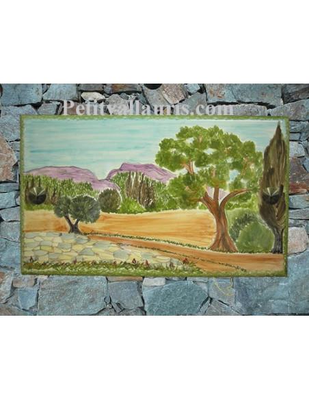 Plaque de Maison rectangle en céramique émaillée décor artisanal motif paysage campagne et chêne +personnalisation