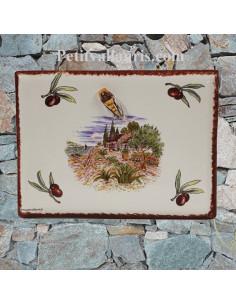 plaque de maison céramique décor bastide provençale et brins d'olives rouge cigale en relief