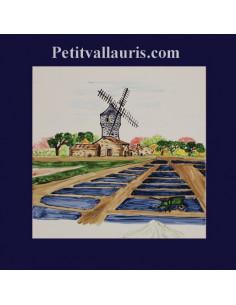 Carrelage décor marais salants et moulin sur 20 x 20 cm