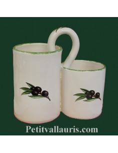 Ramasse couverts fond blanc décor Olive noire