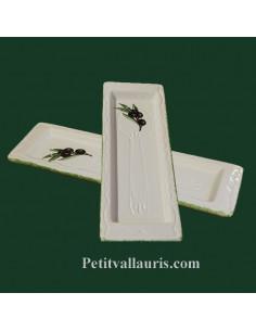 Repose-cuillère en faïence blanche décor Olive noire