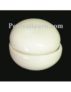 Boîte à bijoux ronde émaillée blanc unie