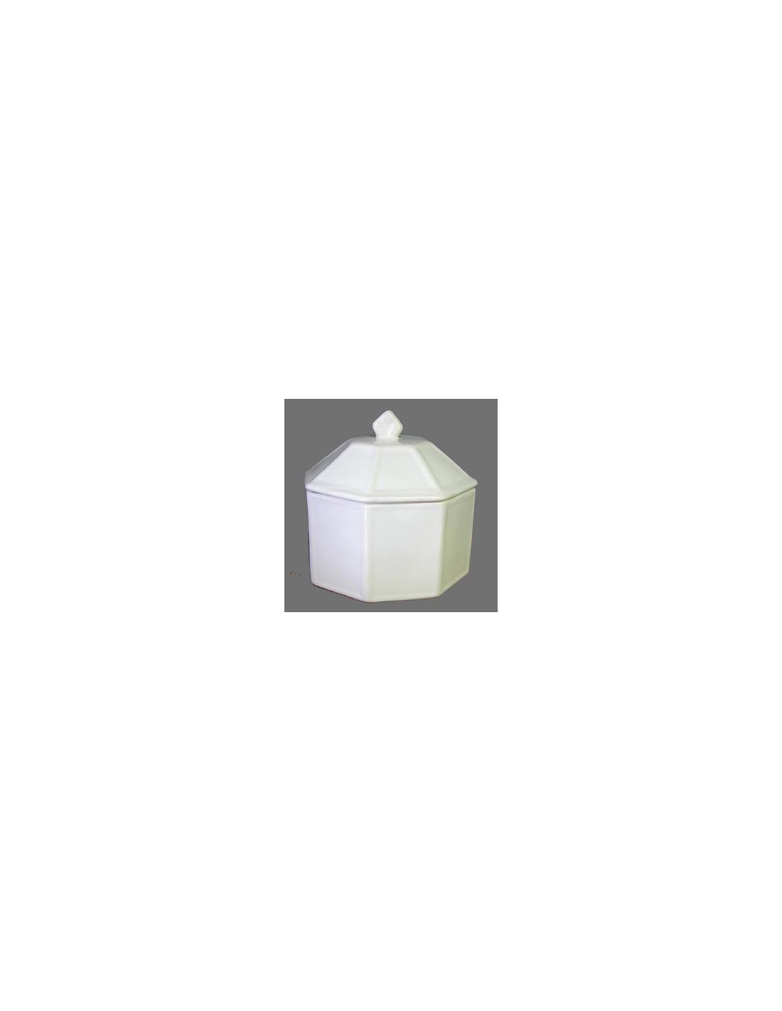 Sucrier En Porcelaine Blanche 10.5x9.5cm en Boîte Cadeau Bonbonnière 0U46