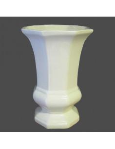Vase Medicis moyen modèle en faïence émaillé uni blanc