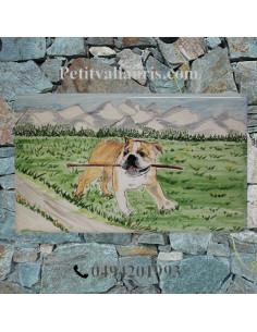 Plaque personnalisée de villa en céramique décor chien bouledogue
