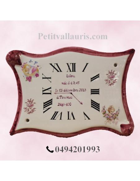 Horloge - Parchemin souvenir de naissance Fille décor rose