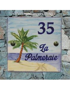 Plaque texte et décor personnalisé pour votre villa décor cocotier texte bleu