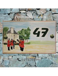 Plaque pour pavillon en céramique décor chasse à cour trompe de chasse