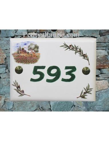 plaque de maison céramique décor bastide provençale et brins d'olivier inscription verte