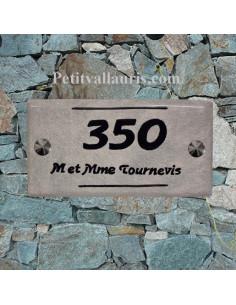 Plaque numéro de maison faience émaillée couleur fond gris clair inscription personnalisée noire