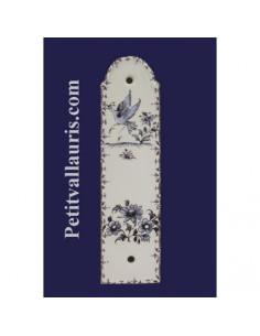Demi plaque décorative en porcelaine blanche motif oiseau, personnage ou fleurs bleu