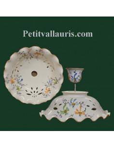 Suspension céramique décor Fleurs bleues+vertes+orangées D40