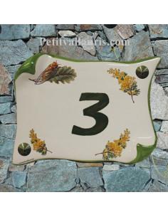 Plaque de Maison parchemin décor brins de mimosas et cigale inscription verte