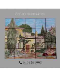 Fresque murale en faience décor Bastide provençale fleurie