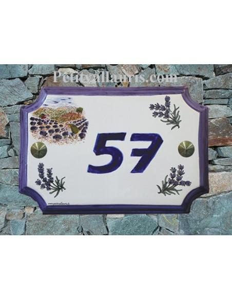 Plaque de Maison rectangle décor récolte des lavandes et brins de lavande inscription personnalisée bleue