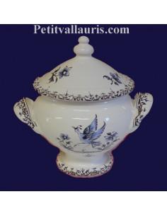 Soupière miniature en faïence décor Tradition Vieux Moustiers bleu