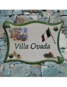 Plaque de maison parchemin en céramique décor calanque et drapeau italien