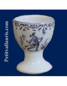 Coquetier individuel décor Tradition Vieux Moustiers bleu