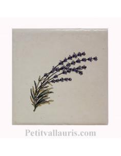Carreau décor brin de lavande taille 2 - 10 x 10 cm