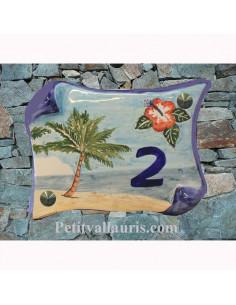 Plaque de Maison parchemin petit modèle décor Cocotier et Hibiscus