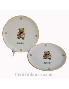 Assiette plate décor Nounours inscription personnalisée
